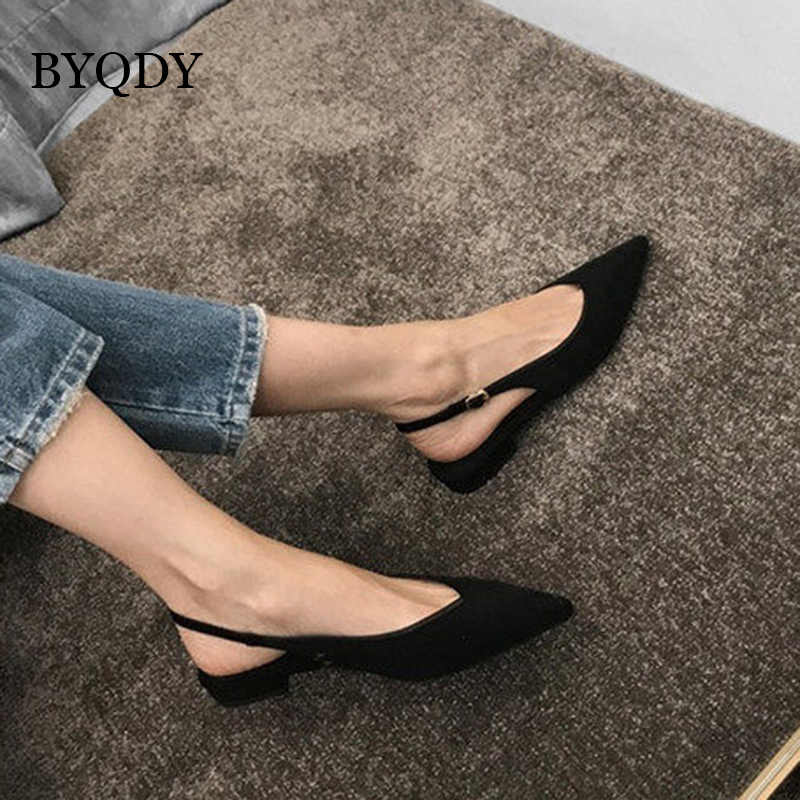 BYQDY セクシーな黒低かかと女性はフロックドレス女性カジュアルシューズポインテッドトゥバックストラップシューズ春フェイクスエード裁判所靴