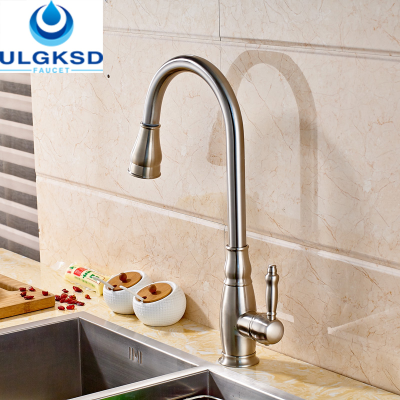 Ulgksd Brushed Nickle Kitchen Faucet Sprayer Pull Down Two Style Deck Mount HandHeldFaucet Flexible Hose Kitchen Mixer Water Tap free shipping low price promotion brushed nickle solid brass spring kitchen faucet two spouts pull deck mount mixer faucet zr659