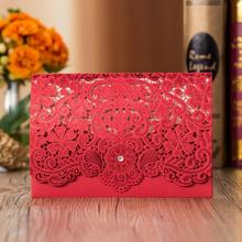 50pcs/lot New Laser Cut Red Embroidery Flower Engagement Wedding Invitations Card Two Folds Inner Page Birthday Party Invitation cut adrift page 5