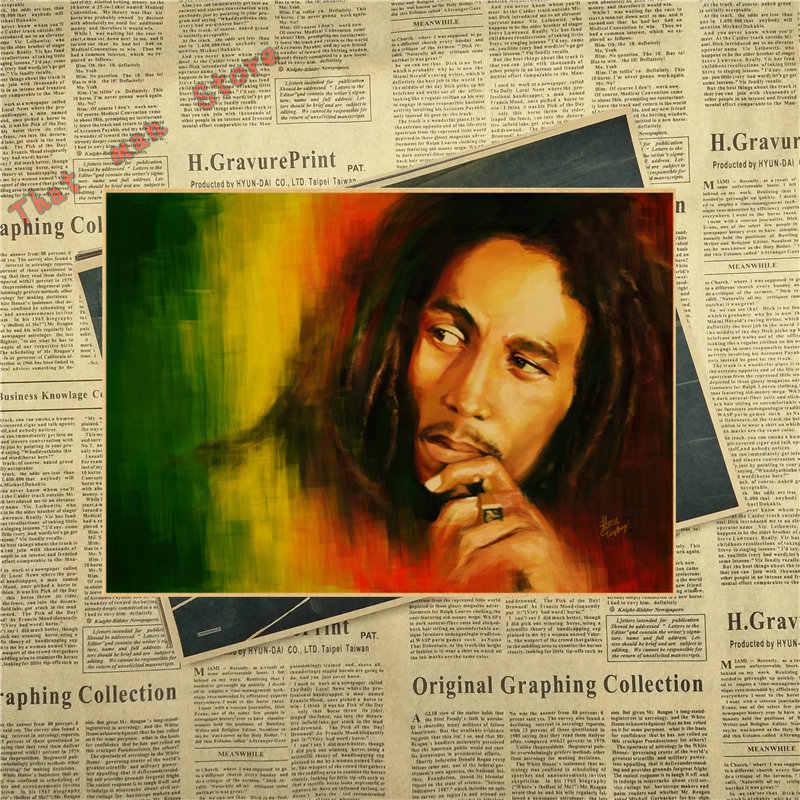 VINTAGE CLASSIC ROCK Reggae Wailing Wailers BOB Marley โปสเตอร์ Retro Kraft Paper Bar Cafe Home Decor สติ๊กเกอร์ติดผนัง