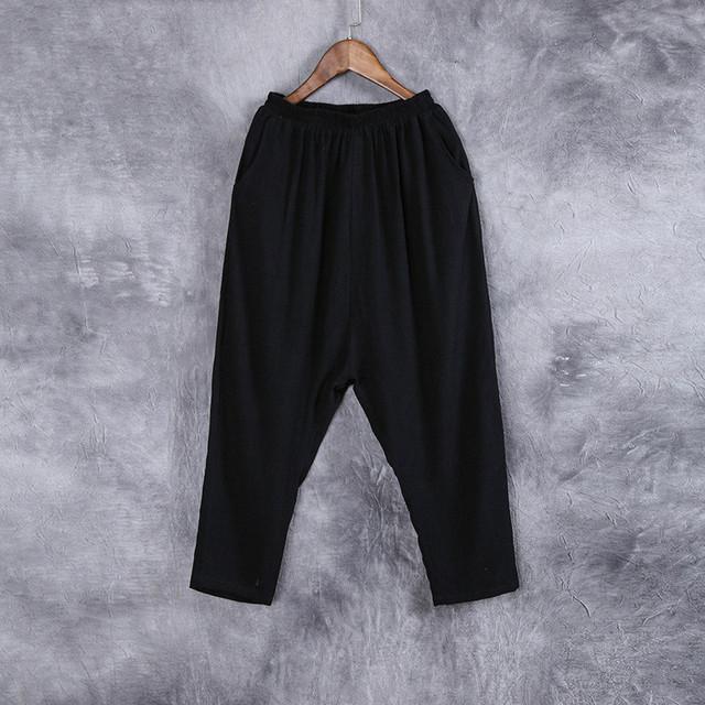 Cintura elástica plus size calças dos homens verão novo estilo china masculino de linho de algodão calças harem pants soltas calça casual calças dos homens K36N