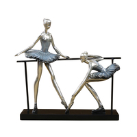 Creative Ballerina Statue Handmade Resin Dancer Ballet Girl Sculpture Exercise Room Decor Iron Art and Craft Ornament Present