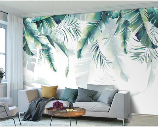 Custom Photo Wallpaper Retro Tropical Rain Forest Palm Banana Leaves Wall Mural Cafe Restaurant Backdrop 3d wallpaper