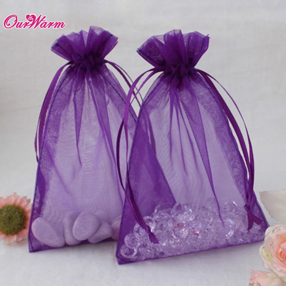 1813cm 50pcslot H Shape Organza Bag Jewelry Pouch Gift Bags