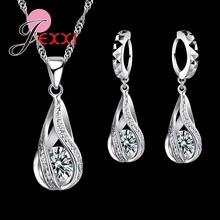 JEXXI 2018 nowy kropla wody CZ zestawy biżuterii 925 Sterling Silver naszyjnik amp kolczyki biżuteria ślubna dla kobiet zestawy ślubne tanie tanio Jewelry Sets Moda Strona Necklace Earrings Trendy Srebrny Metal S53401