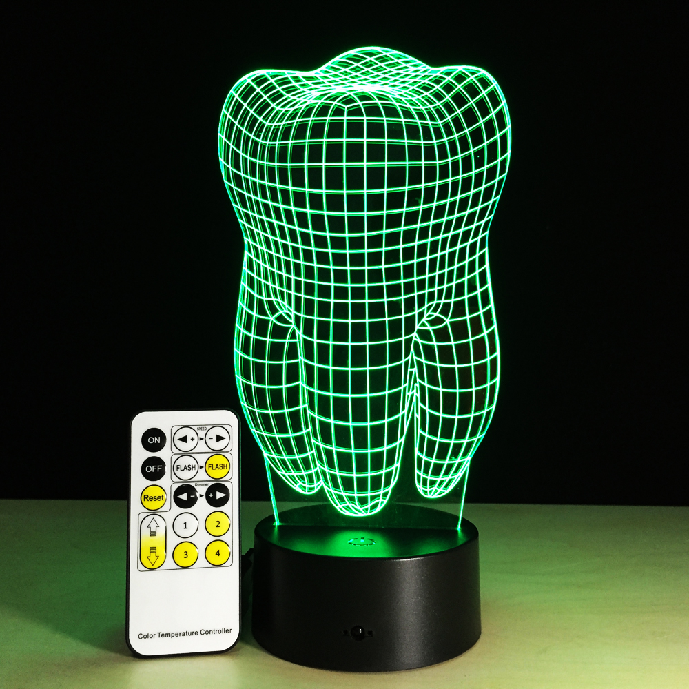 Tooth Shape 3D Illusion LED Table Lamp Night Light with Remote Control as Gift for Dentist 7 Colors Change Decor Lighting cartoon cute heart bear shape acrylic led lamp 3d baby night light sleeping lighting 7 colors with touch and remote control