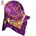 Primavera púrpura bufandas impreso 2016 nuevas mujeres del diseño patrón de la cadena cuadrado grande bufanda de seda chal 90 X 90 cm Noble satén bufanda