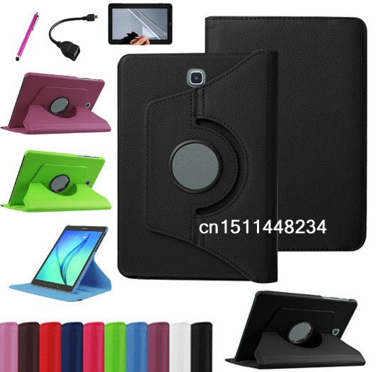 HOT!360 degree rotation luxury fashion PU Leather Cover Case For Samsung Galaxy Tab S2 8.0 T715 T710 high quality cover+pen+flim