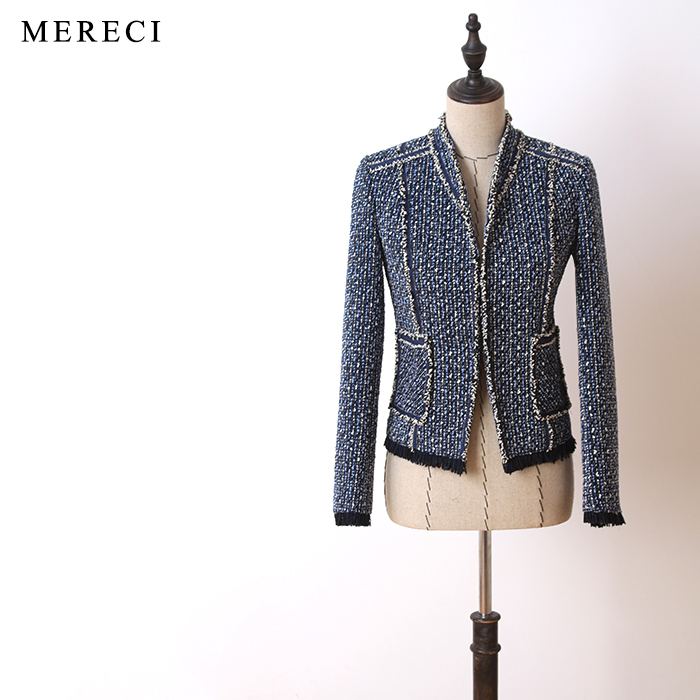 Women fashion elegant tweed jacket long sleeve stand collar formal office lady slim coat outerwear new 2017 autumn blue black