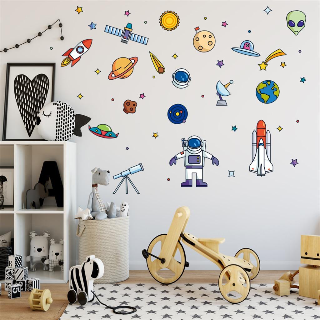 Autocollant mural pour décoration de chambre d'enfant, Robot de fusée, autocollant mural créatif, dessin animé extraterrestre, vaisseau spatial