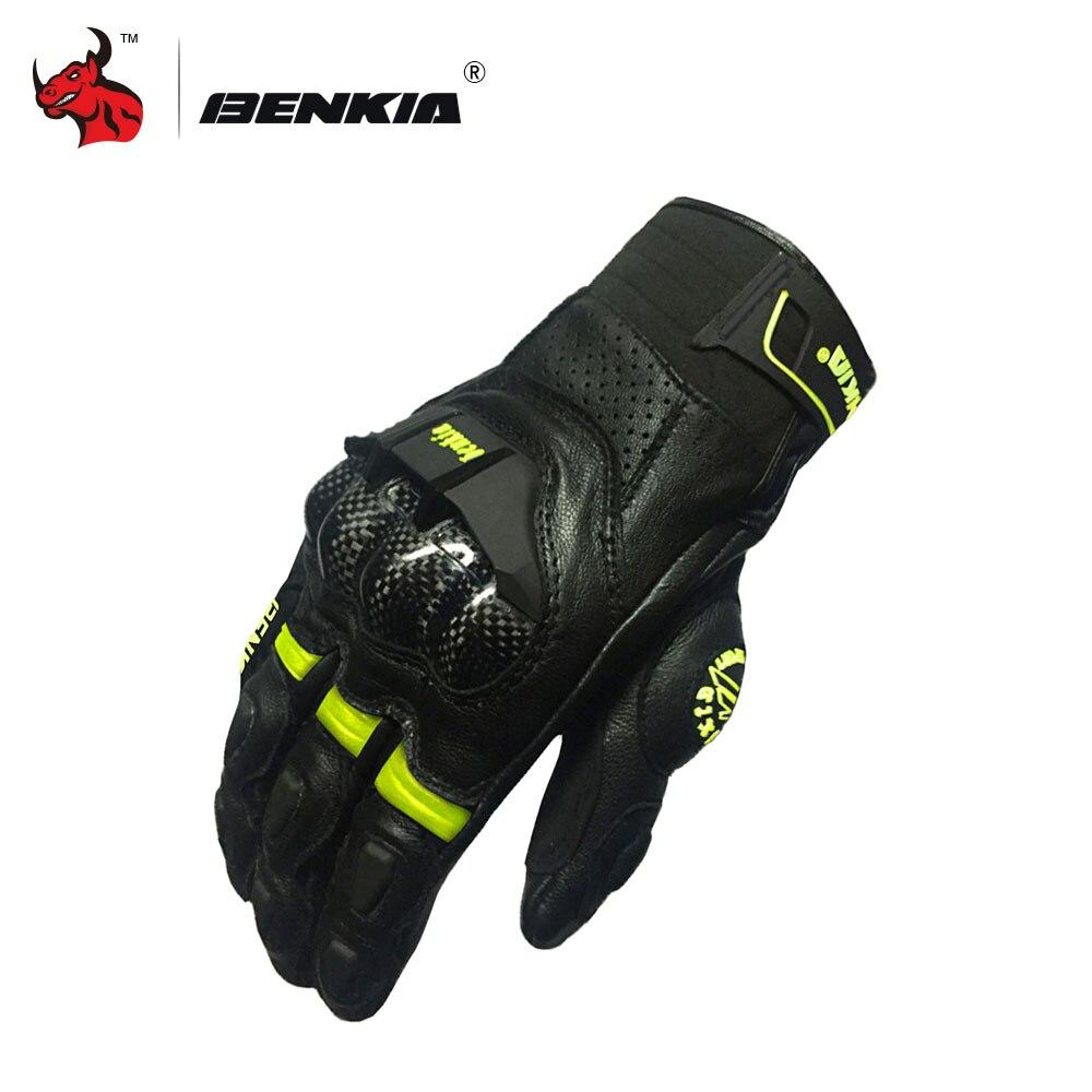 BENKIA Men Motocross Racing Leather Gloves Black Full Finger Motorcycle Gloves Touch Screen Moto Racing Motorbike Guantes Luvas