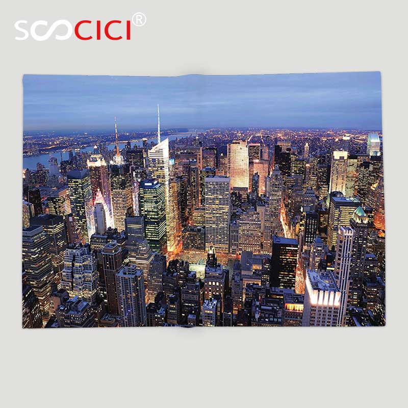Custom Soft Fleece Throw Blanket New York Decor Aerial View of NYC Full of Skyscrapers Manhattan Times Square Famous Cityscape
