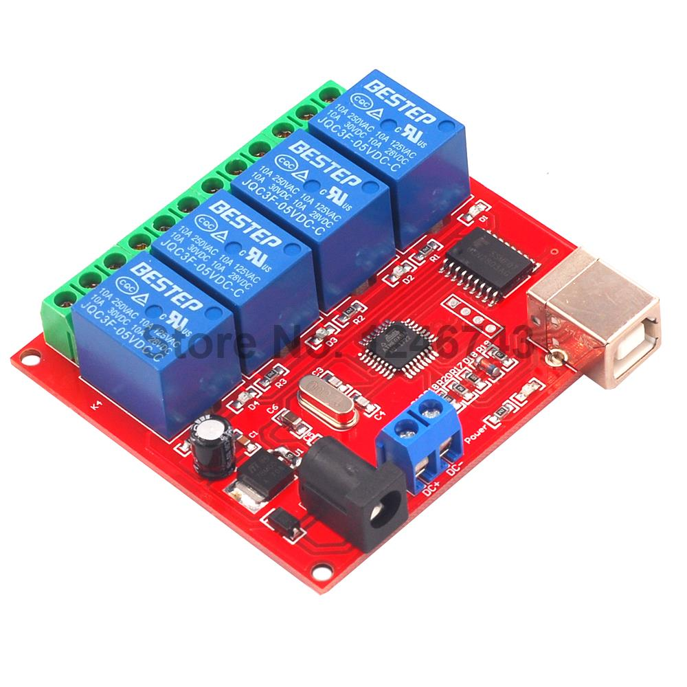 5V 12V 24V 4 Channel Relay Module 4Channel USB Relay Computer USB Control Switch Free Driver PC Intelligent Controller 12v 8 channel programmable relay module usb computer control for smart home s