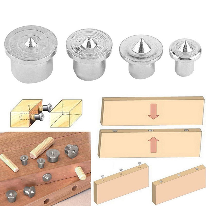 4PCS/Set Dowel Tenon Center Set Woodworking Top Locator Roundwood Punch Wooden Furniture Centering Point