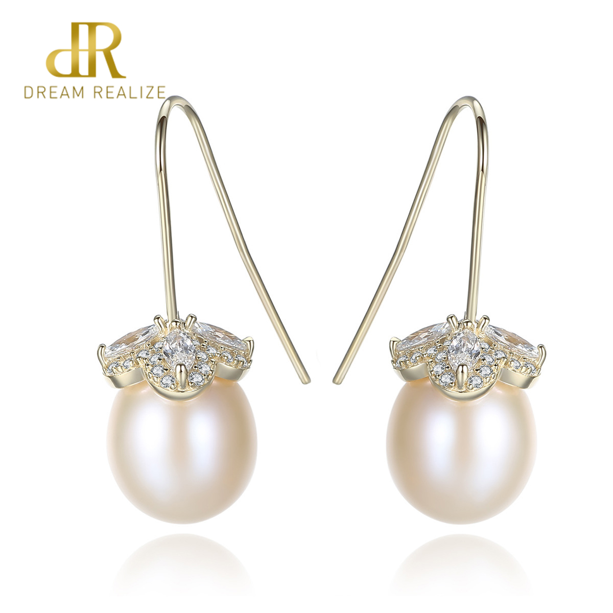 DR Elegant Romantic Natural Pearl Earrings Fine jewelry pearl pendant drop earrings Women chic clothing accessory