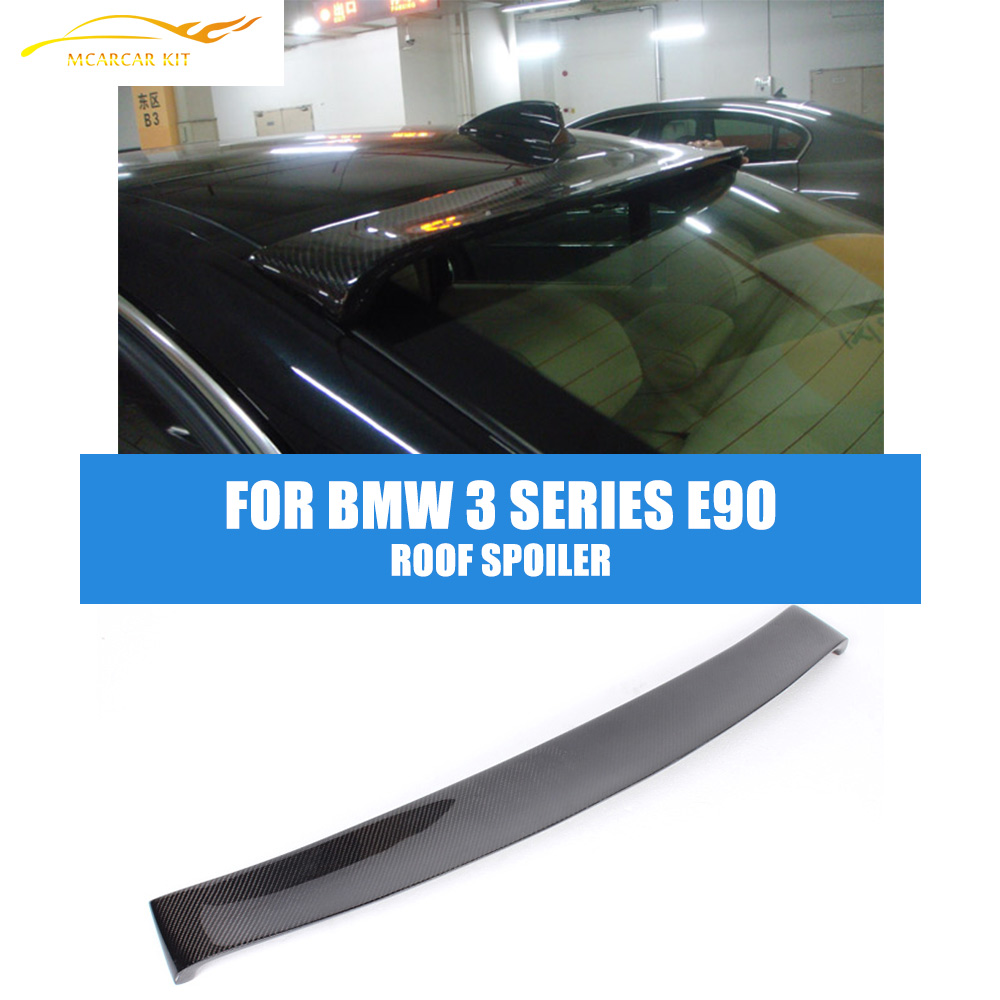 Carbon Fiber Rear Roof Spoiler Lip For BMW 3 Series 320i 325i E90 2005-2011 Trunk Trim Sticker Custom Window Spoiler Wing car accessories frp fiber glass origin lab style roof spoiler fit for 1992 1997 rx7 fd3s rear roof wing