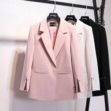 Женская куртка Розовый Белый Блейзер женская одежда корейская винтажная Весенняя осенняя куртка костюм топы OL Повседневная Верхняя одежда Пальто ZT2290
