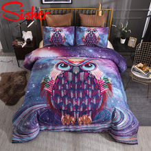 Sisher 3D Cat Duvet Cover Set Starry Owl Print Bedding Sets Wolf Quilt Covers Single Double Queen King(China)
