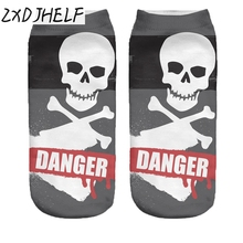 "ZXDJHELF New Women Low Cut Ankle Socks Cute Funny Skull ""DANGER""3D Printing Sock Casual Cotton Hosiery Printed Sock S0147"