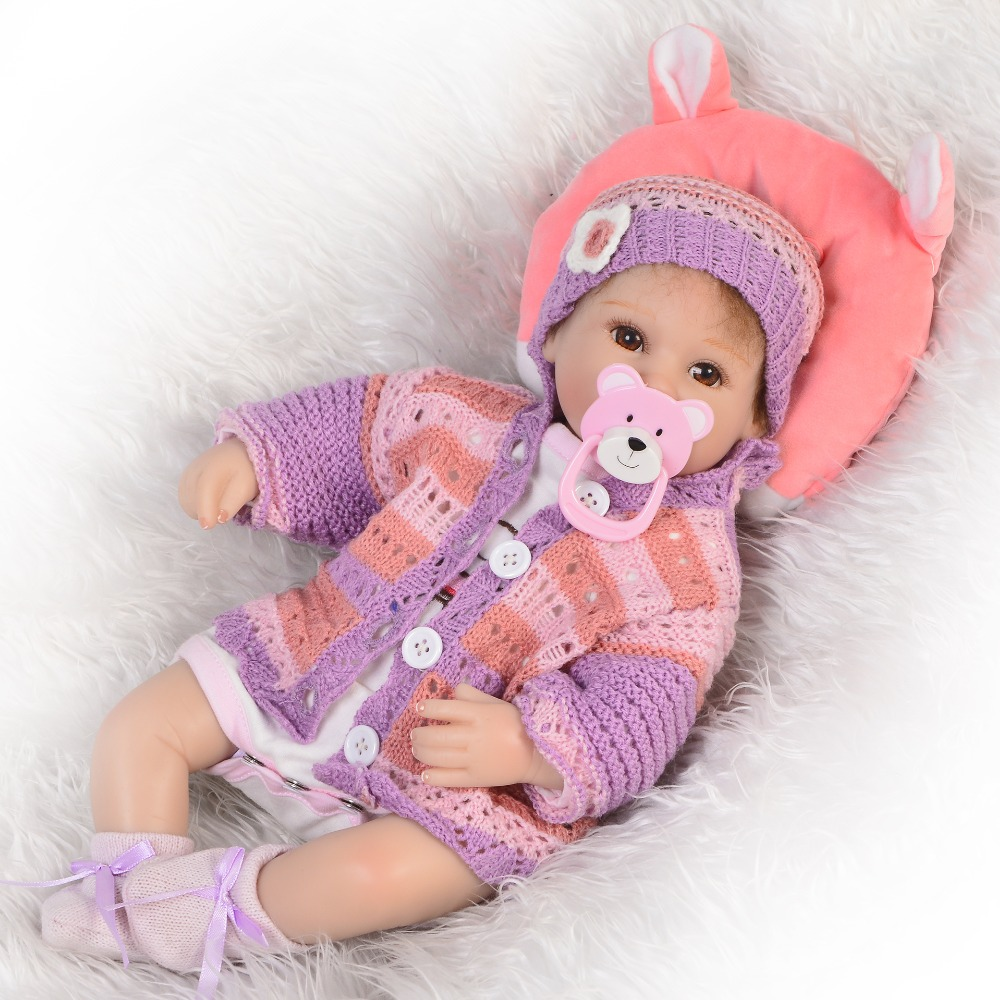 High -End 17 Inch Realistic Baby Girl Reborn Soft Silicone Princess Babies Lifelike Doll Can Sit And Lie Kids Birthday Xmas GiftHigh -End 17 Inch Realistic Baby Girl Reborn Soft Silicone Princess Babies Lifelike Doll Can Sit And Lie Kids Birthday Xmas Gift