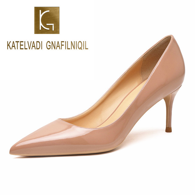 KATELVADI Beige Women's Shoes Patent Leather Shoes Woman High Heel Fashion 6.5CM High Heel shoes,K-323