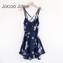 Jocoo Jolee Sexy Backless Floral Sprint Women Mini Dress Deep V-Neck Camis Summer Beach A-Line Hollow out Dress 2018 New Arrival