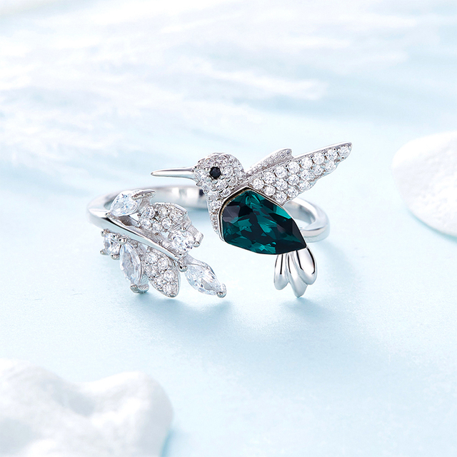 925 Silver Ring Bird Embellished with crystals from Swarovski