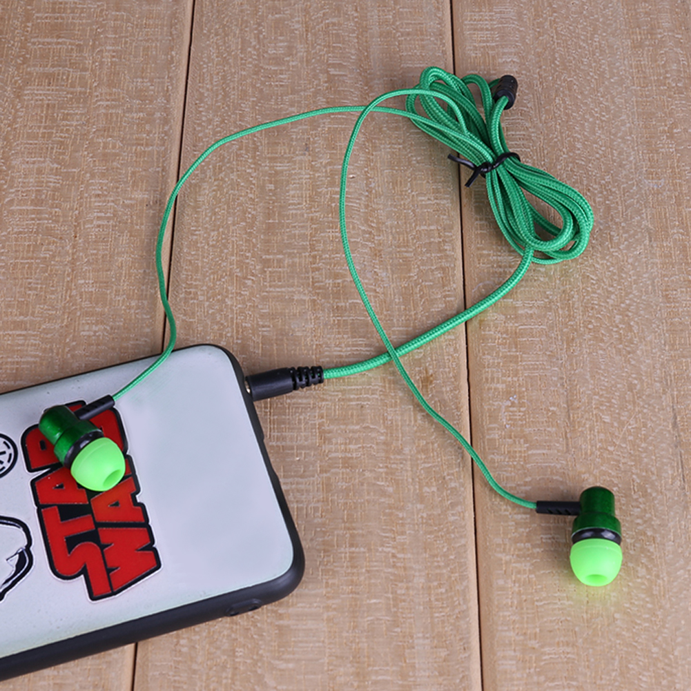 ALLOYSEED wired Sub-woofer braided wired head phone earphone Ear Braided Rope Wire Cloth Rope Earplug for mobile phone