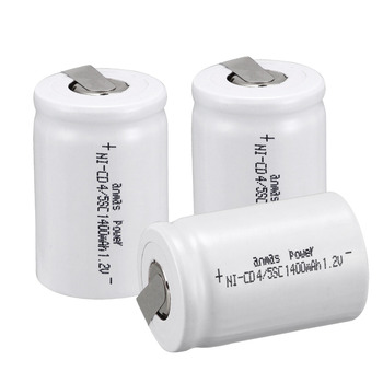 Anmas power! 3 PCS Ni-Cd 4/5 SubC Sub C battery Rechargeable Battery 1.2V 1400mAh with Tab 3.3cm x 2.2cm-Tab white color image