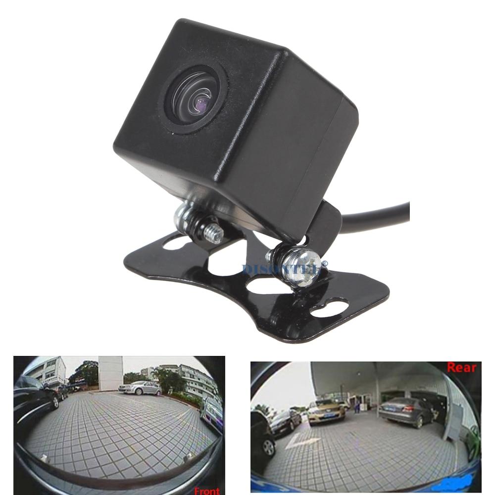 imágenes para Delante Del Coche Del CCD cámara de visión Trasera Universal de 180 Grados Que Invierte el respaldo parking cámara de visión HD noche impermeable