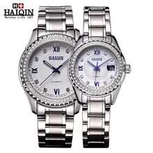 A pair of Top sell Brand HAIQIN Original WristWatches Men Women Lovers Wrist watches Luxury diamond automatic mechanical watch
