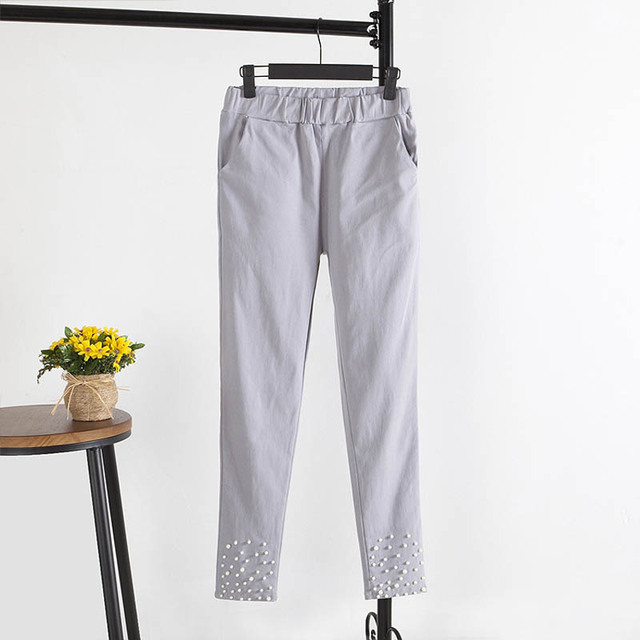Nuevo Estilo de la Alta Cintura de Las Mujeres Pantalones Casual Rebordear Delgado Bodycon Más El Tamaño 5XL Pantalones Elásticos KK1214