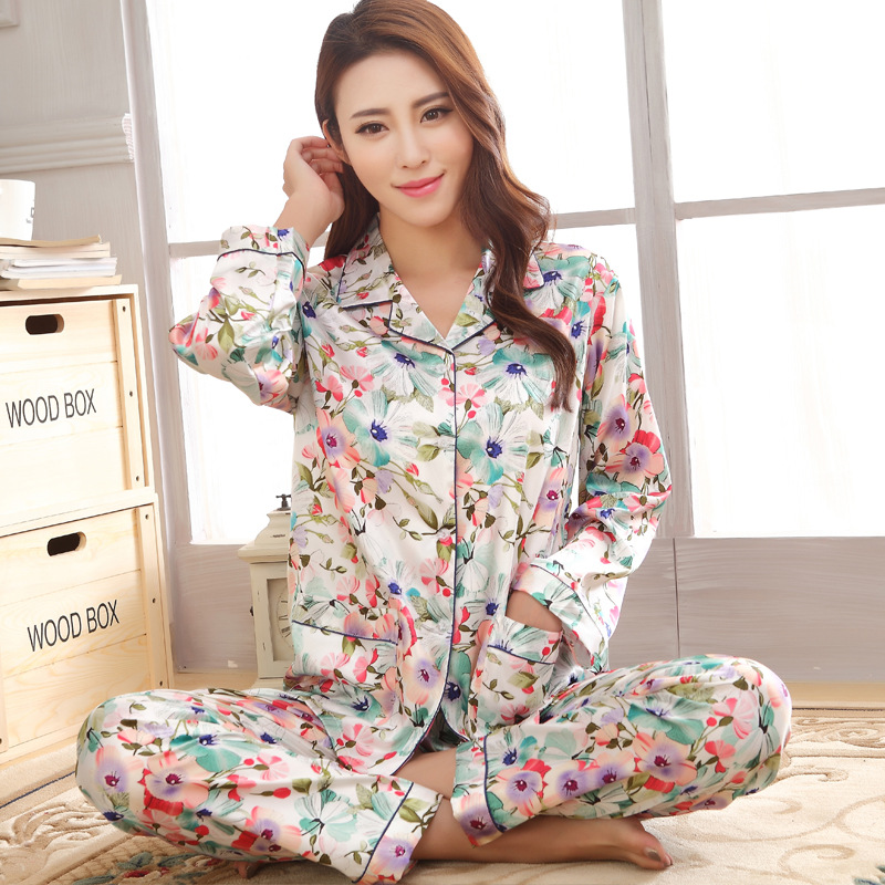 Faux Silk   Pajamas     Set   Printed Ladies Sleepwear Suit Turn-Down Collar 2PCS Shirt&Pants Home Wear Casual Negligee Night Gown