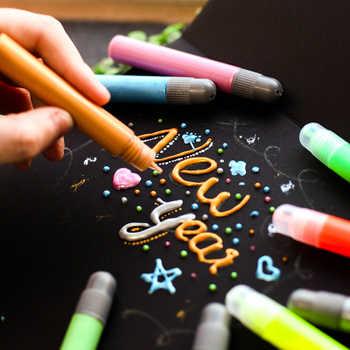 6 Colors/Set Creative 3D Magic Colored Markers Metallic Paint Marker Glass Ceramic Textile Fabric Paint Graffiti Art Marker Pens - DISCOUNT ITEM  0% OFF All Category