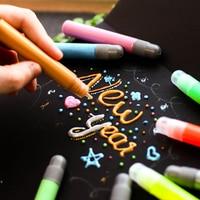 6 Colores/Set Creativo 3D Magia llama de Colores Marcadores Metálicos Marcador De Pintura De Vidrio De Cerámica Pintura Textil de Graffiti Art Marker plumas