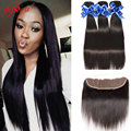 Malaysian Straight Virgin Hair 3 Bundles With Lace Frontal Closure 100% Human Hair Ear to Ear Lace Frontal Closure With Bundles