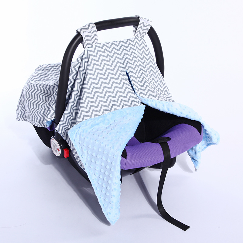 70X100cm 2layers grey minky Baby Car Seat Blanket Newborn Baby cradle cover Car Seat Canopy Nursing