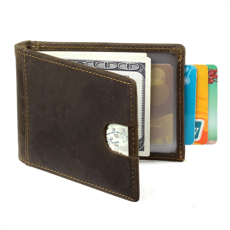 Nesitu RFID Blocking Dark Brown Vintage New Design Slim Front Pocket Genuine leather Men's Wallet Credit Card Holder #M9006 коляска трость fd design primo sand dark brown 41001