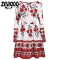 Zeagoo Vintage Dress Women's Bohemian Style O-Neck Long Sleeve Floral Casual Dress Summer Autumn Lace Up Swing Vestidos