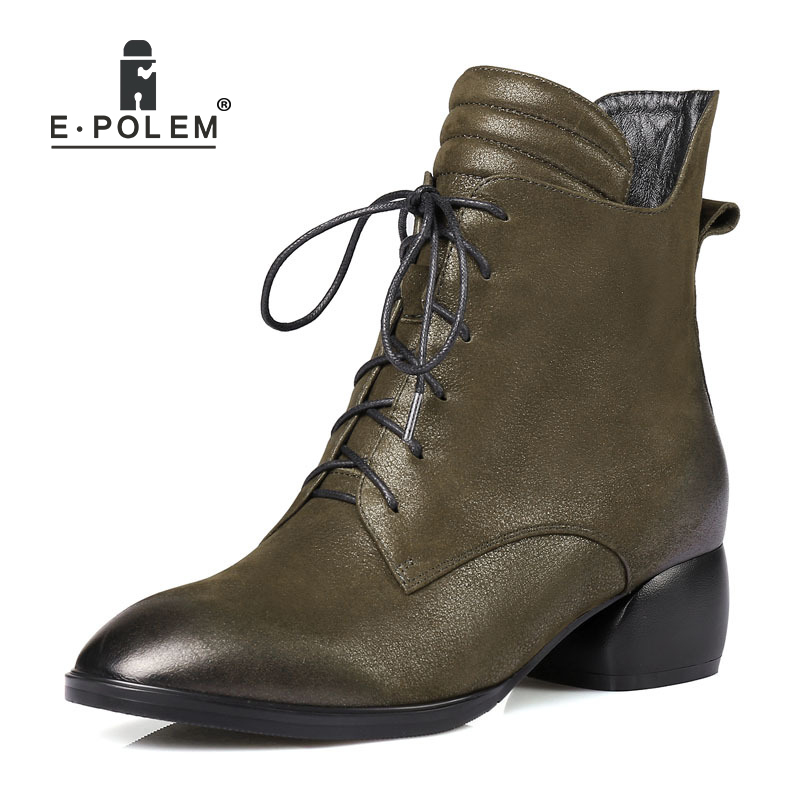 Trendy Female Genuine Leather  Boots Punk Lace-Up Ankle Boots High Thick Heel Women Boots Teenage Girls Pointed Toe BootTrendy Female Genuine Leather  Boots Punk Lace-Up Ankle Boots High Thick Heel Women Boots Teenage Girls Pointed Toe Boot