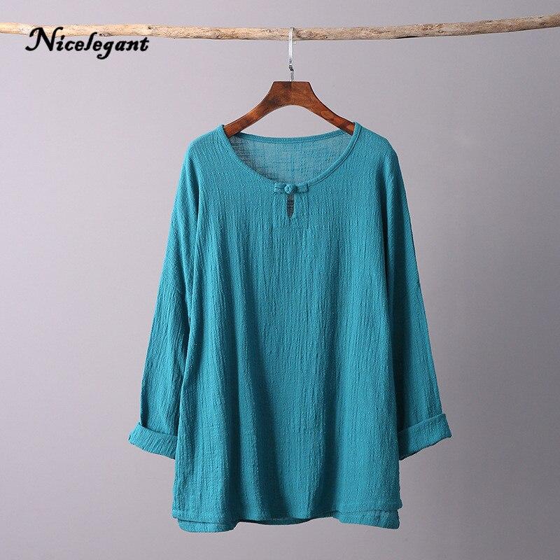 O Neck Retro T shirt Women Long Sleeve Cotton Linen Solid ...
