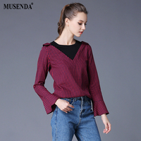 MUSENDA Plus Size 5XL Women Red Black Plaid Patchwork Long Flare Sleeve Blouse 2017 Autumn Lady