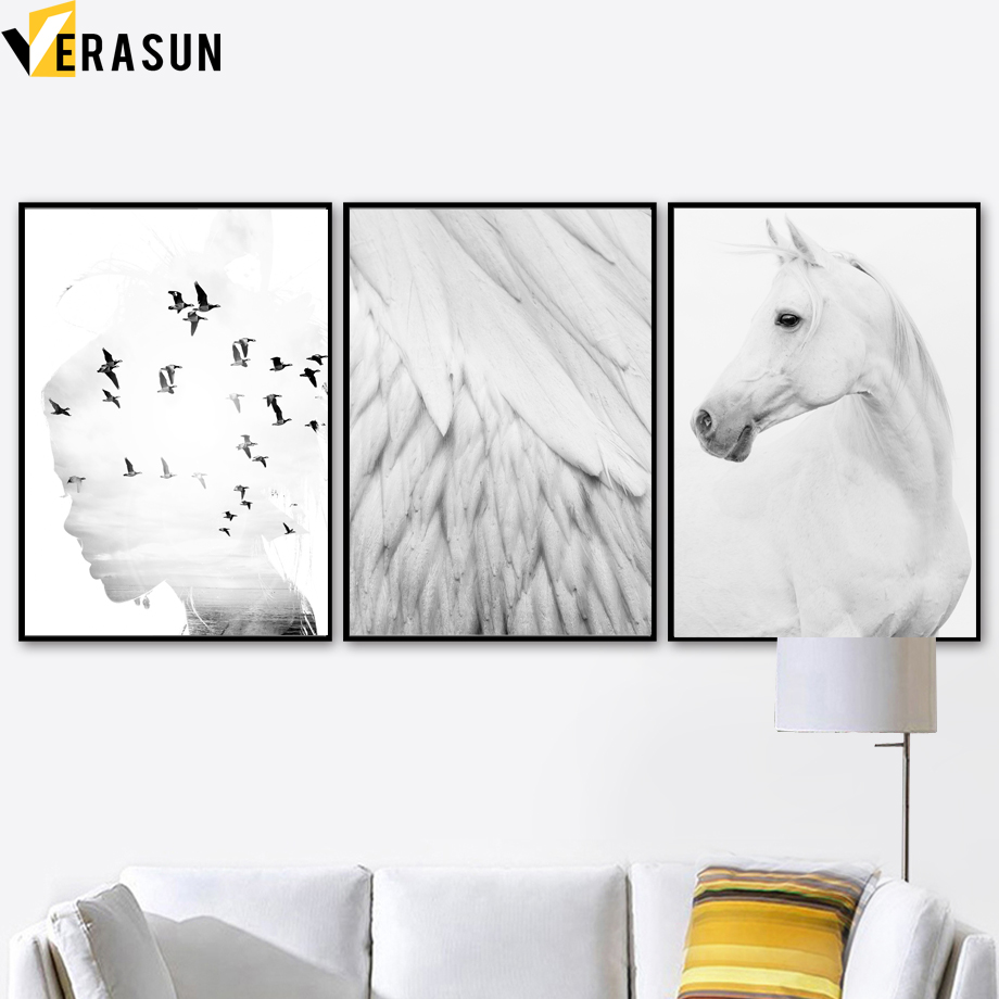 VERASUN Ptica Konj nordijski plakat Wall Art Canvas Slikanje plakatov - Dekor za dom