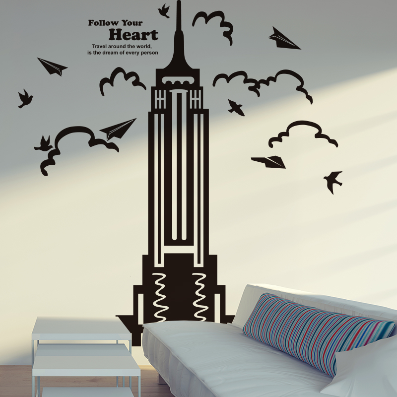 city wall sticker new york empire state building american style wall poster wall art for living room bedroom sticker home decor bedroom furniture sticker style