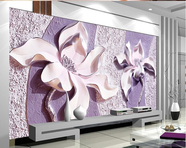 Free Shipping Embossed Purple Magnolia 3D TV background wallpaper bedroom living room sofa wallpaper mural  free shipping purple nebula wallpaper children s room living room tv sofa bedroom ceiling decoration star globe wallpaper mural