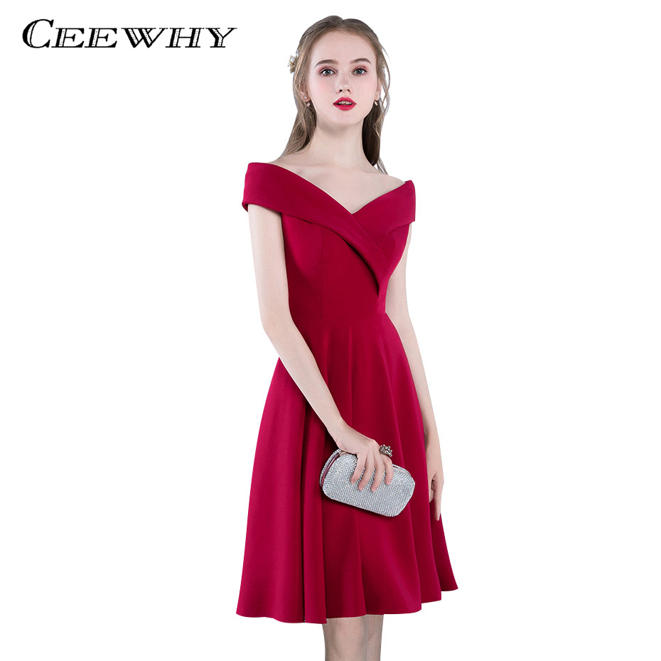 CEEWHY Burgundy V-neck Graduation   Dress   Formal Party   Dress   Vestidos de Coctel Short   Cocktail     Dress   A-line Party   Dress