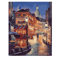 WEEN Night Street Painting By Numbers Abstract Town Oil On Canvas River Cuadros Decoracion Acrylic 9 Type Home Decor