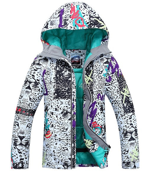 Gsou Snow womens leopard print ski jacket snowboarding jacket for women ladies skiing jacket waterproof skiwear anorak XS-L