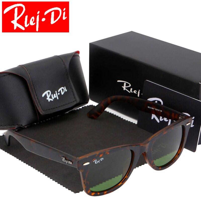 Classic Brand 52MM Glass Lens Sunglasses Men Retro Square Sunglasses Women Driving Mirror UV400 Eyewear Male Eyewear Rays