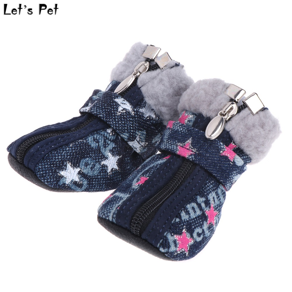 Let's Pet Pet Shoes Dogs Puppy Boots Denim Warm Snow Winter Lovely Anti Slip Zipper Casual